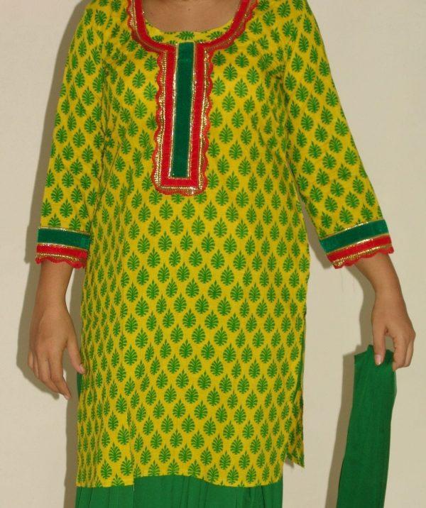 Pure Cotton Printed kameez with plain Salwar Dupatta PS003