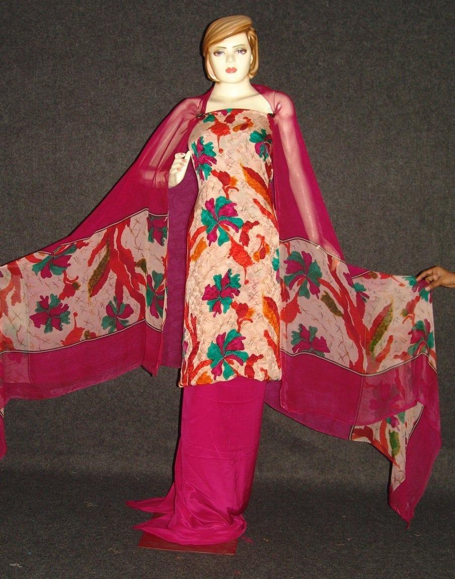 Pure Crepe Printed Suit with Pure Chiffon Dupatta Chunni  PS014 1