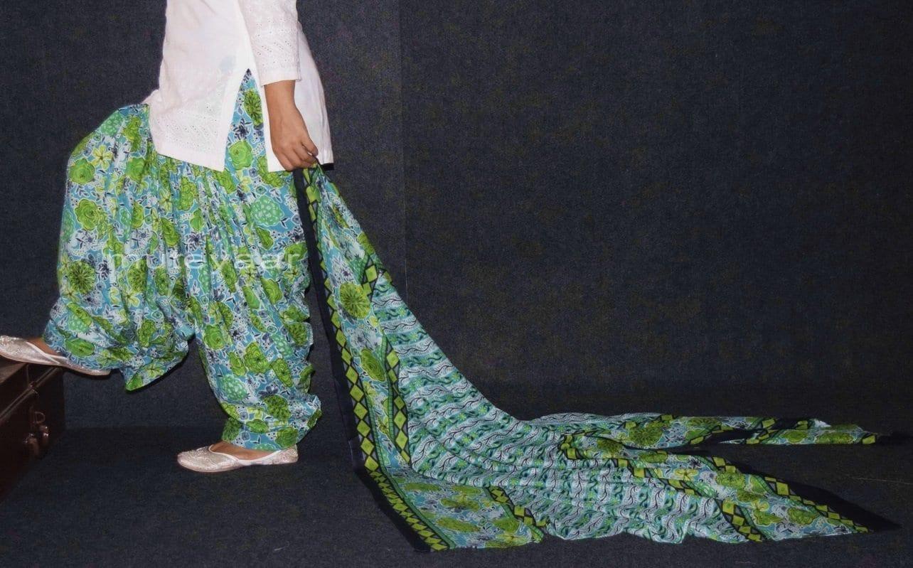 100% Pure Cotton FULL Patiala Salwar + matching cotton printed dupatta PSD143 1