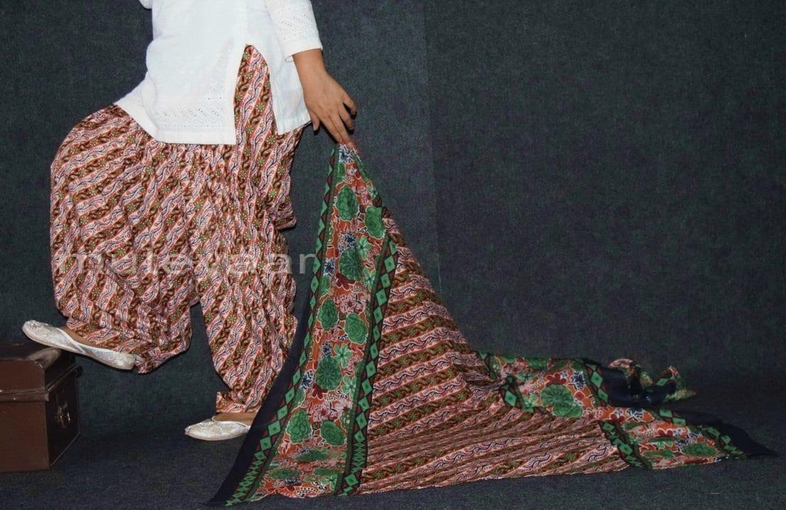 100% Pure Cotton FULL Patiala Salwar + matching cotton printed dupatta PSD156 1