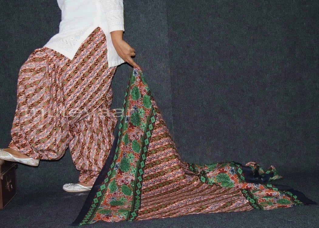 100% Pure Cotton FULL Patiala Salwar + matching cotton printed dupatta PSD156 2