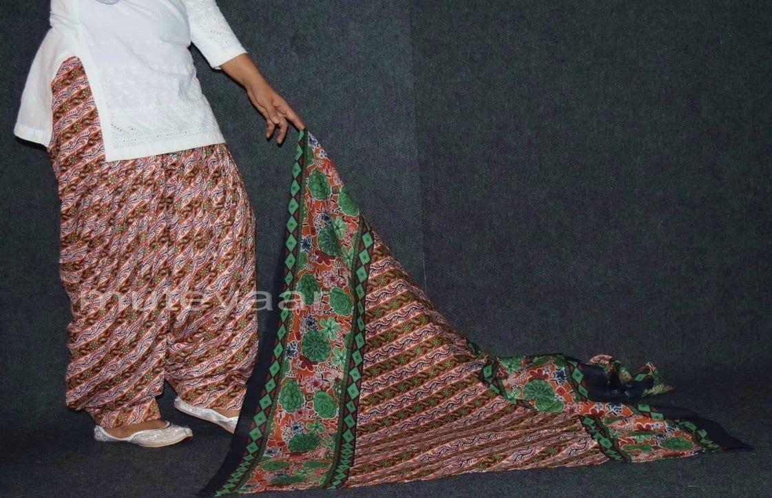 100% Pure Cotton FULL Patiala Salwar + matching cotton printed dupatta PSD156 3