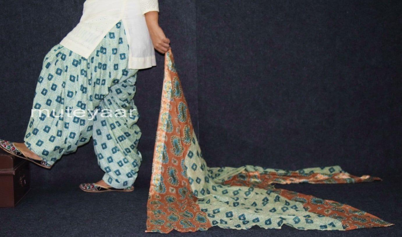 100% Pure Cotton FULL Patiala Salwar + matching cotton printed dupatta PSD161 1
