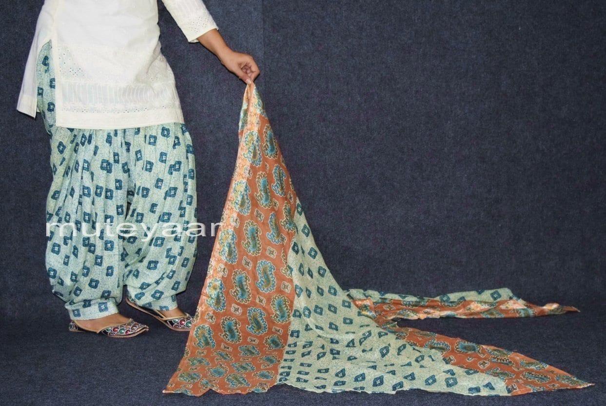 100% Pure Cotton FULL Patiala Salwar + matching cotton printed dupatta PSD161 2