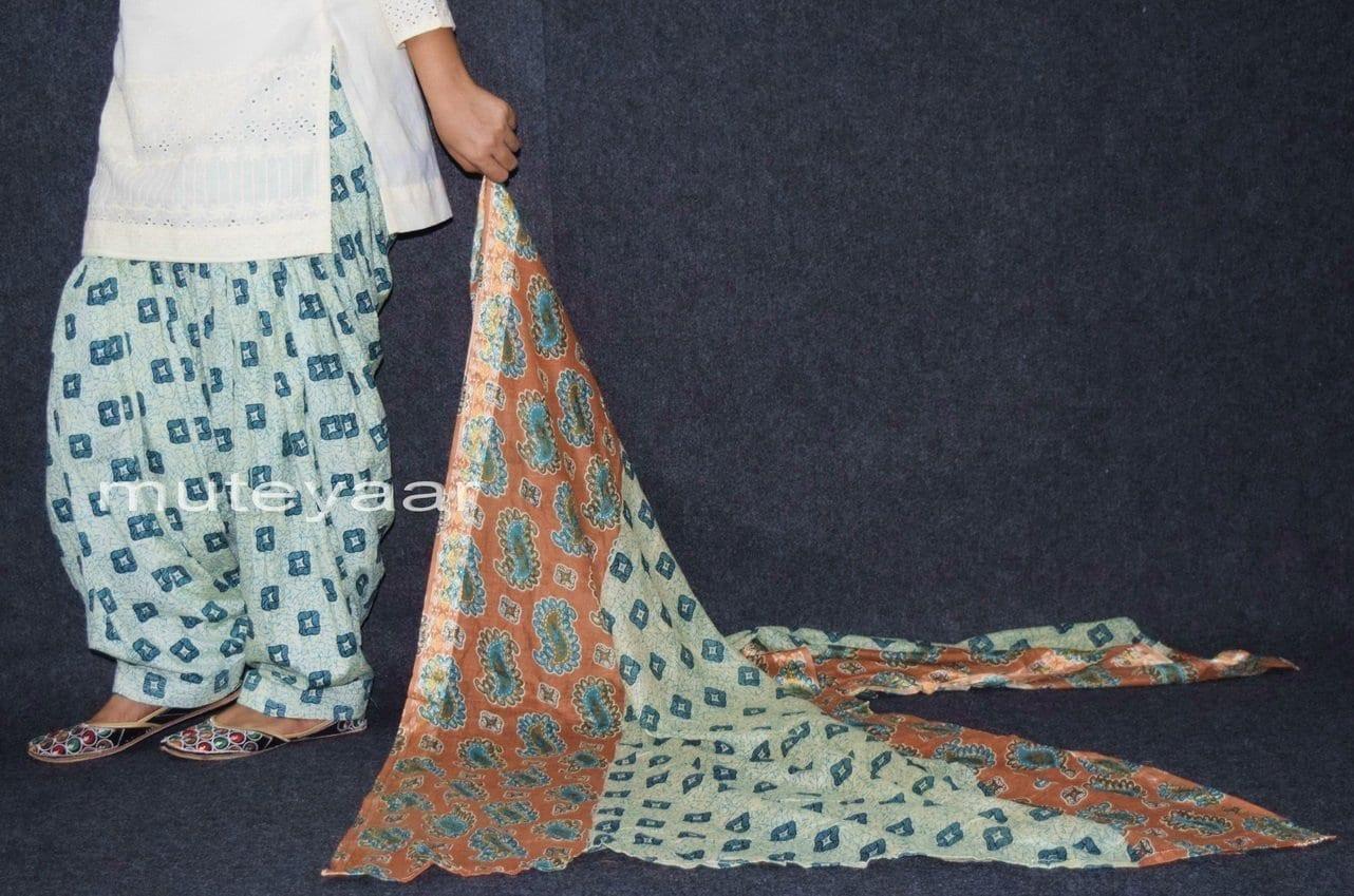 100% Pure Cotton FULL Patiala Salwar + matching cotton printed dupatta PSD161 3
