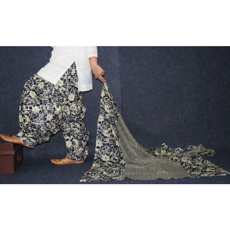 100% Pure Cotton FULL Patiala Salwar + matching cotton printed dupatta PSD162
