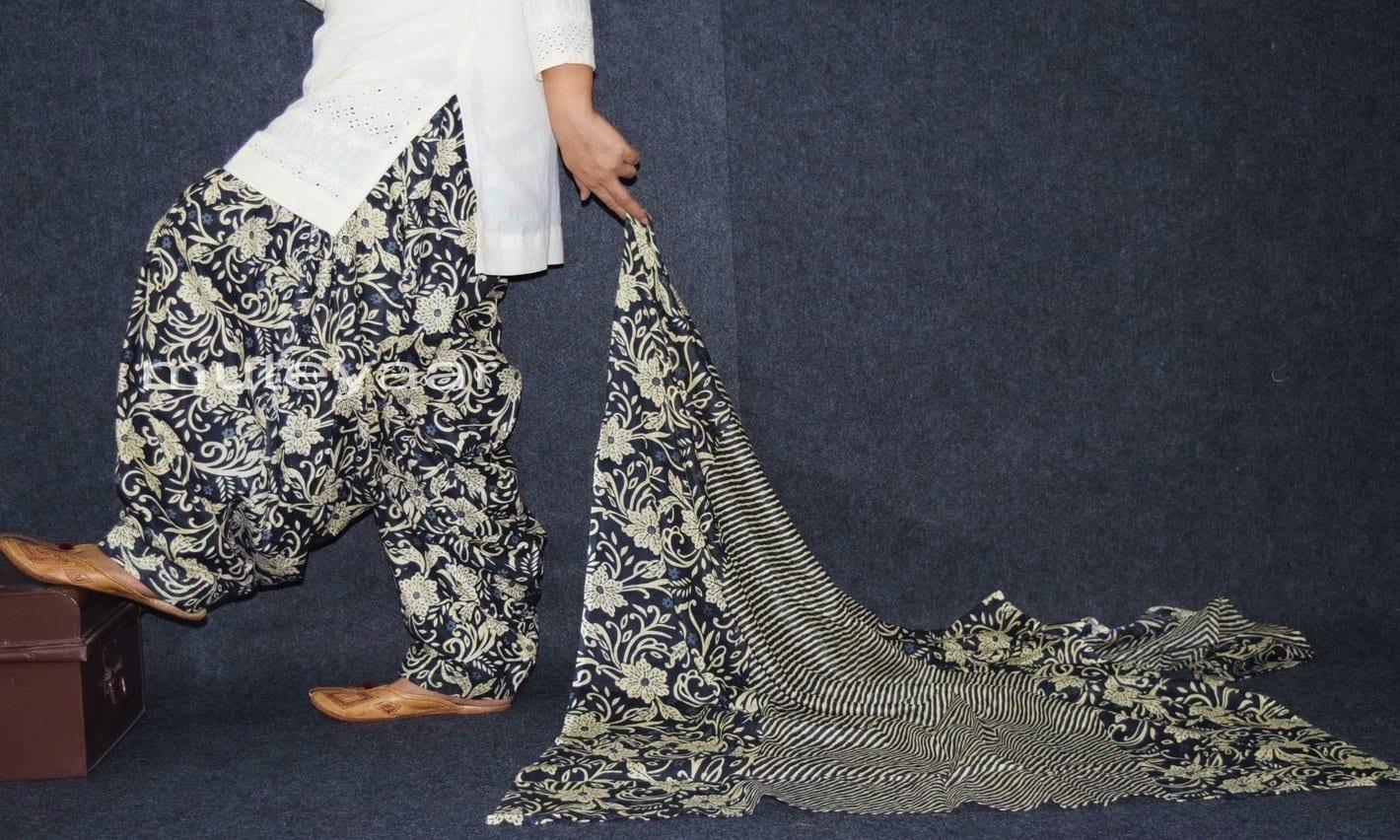 100% Pure Cotton FULL Patiala Salwar + matching cotton printed dupatta PSD162 2