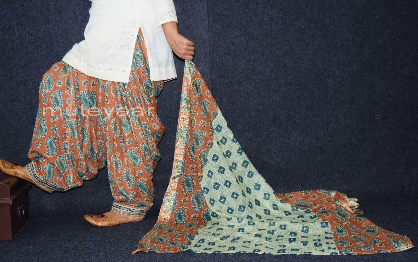 100% Pure Cotton FULL Patiala Salwar + matching cotton printed dupatta PSD163 1