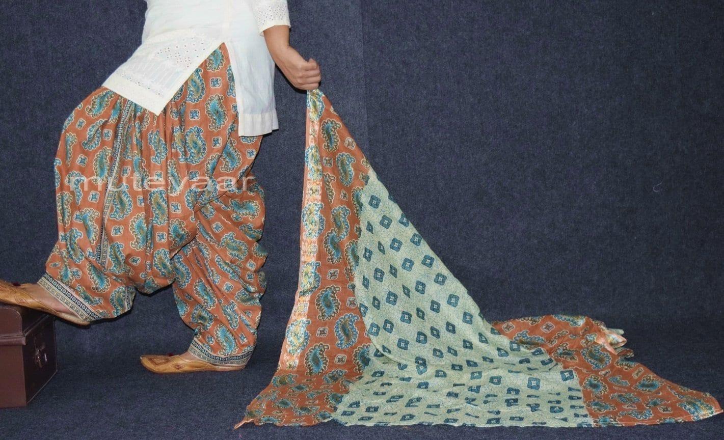 100% Pure Cotton FULL Patiala Salwar + matching cotton printed dupatta PSD163 2
