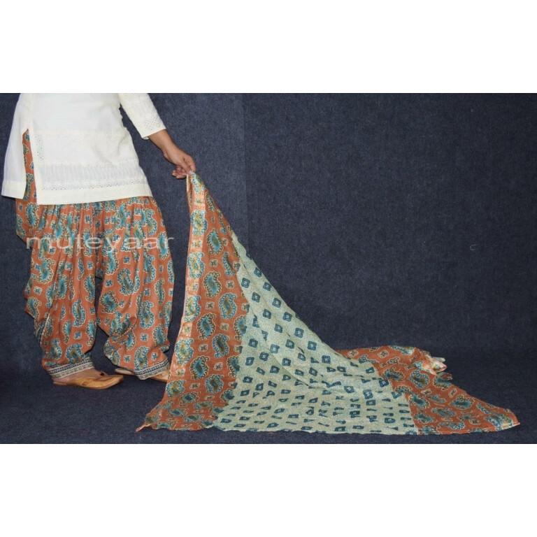 100% Pure Cotton FULL Patiala Salwar + matching cotton printed dupatta PSD163