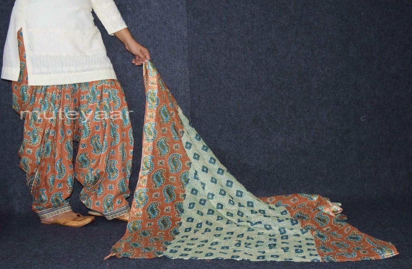 100% Pure Cotton FULL Patiala Salwar + matching cotton printed dupatta PSD163 3