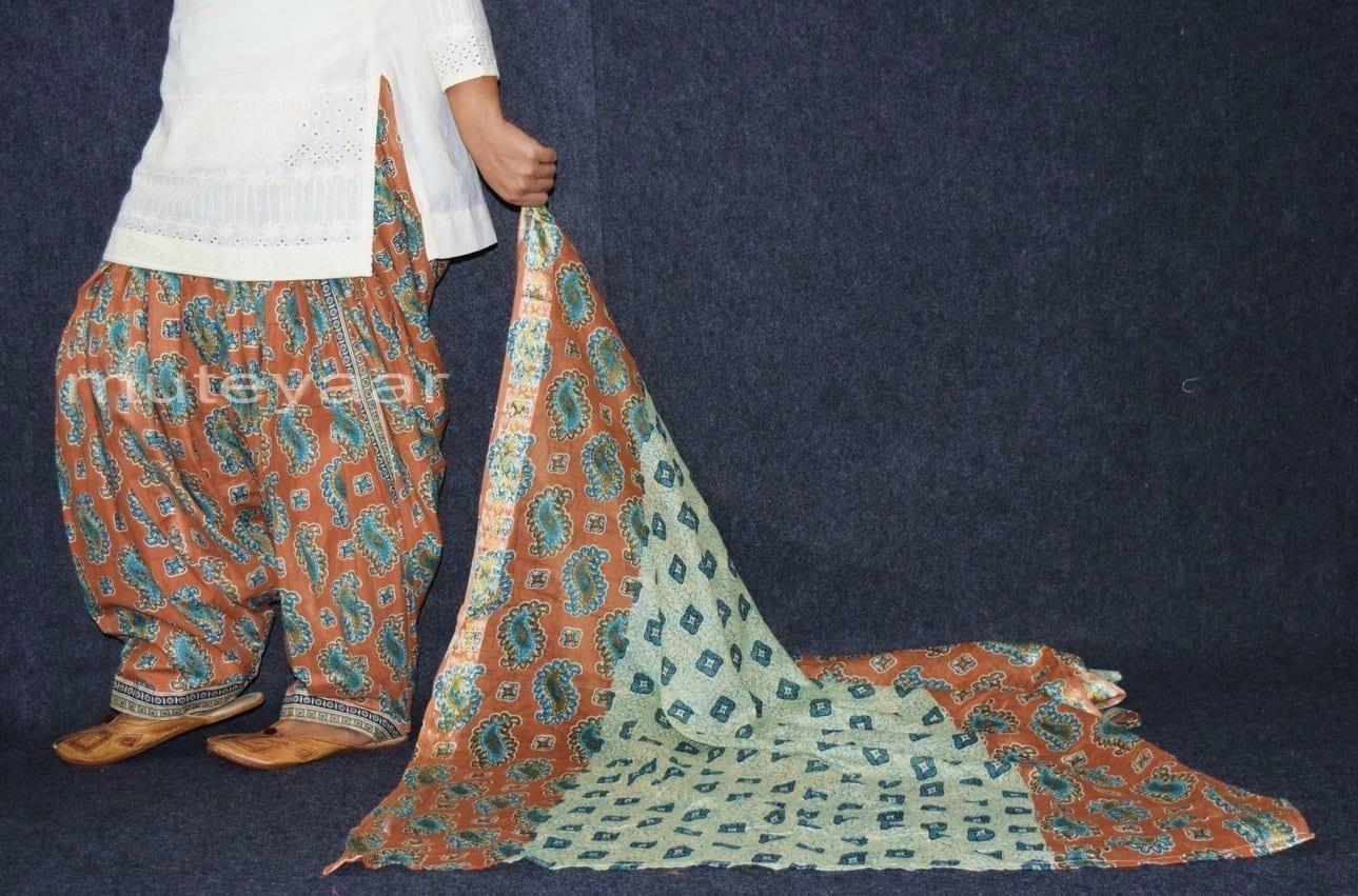 100% Pure Cotton FULL Patiala Salwar + matching cotton printed dupatta PSD163 4