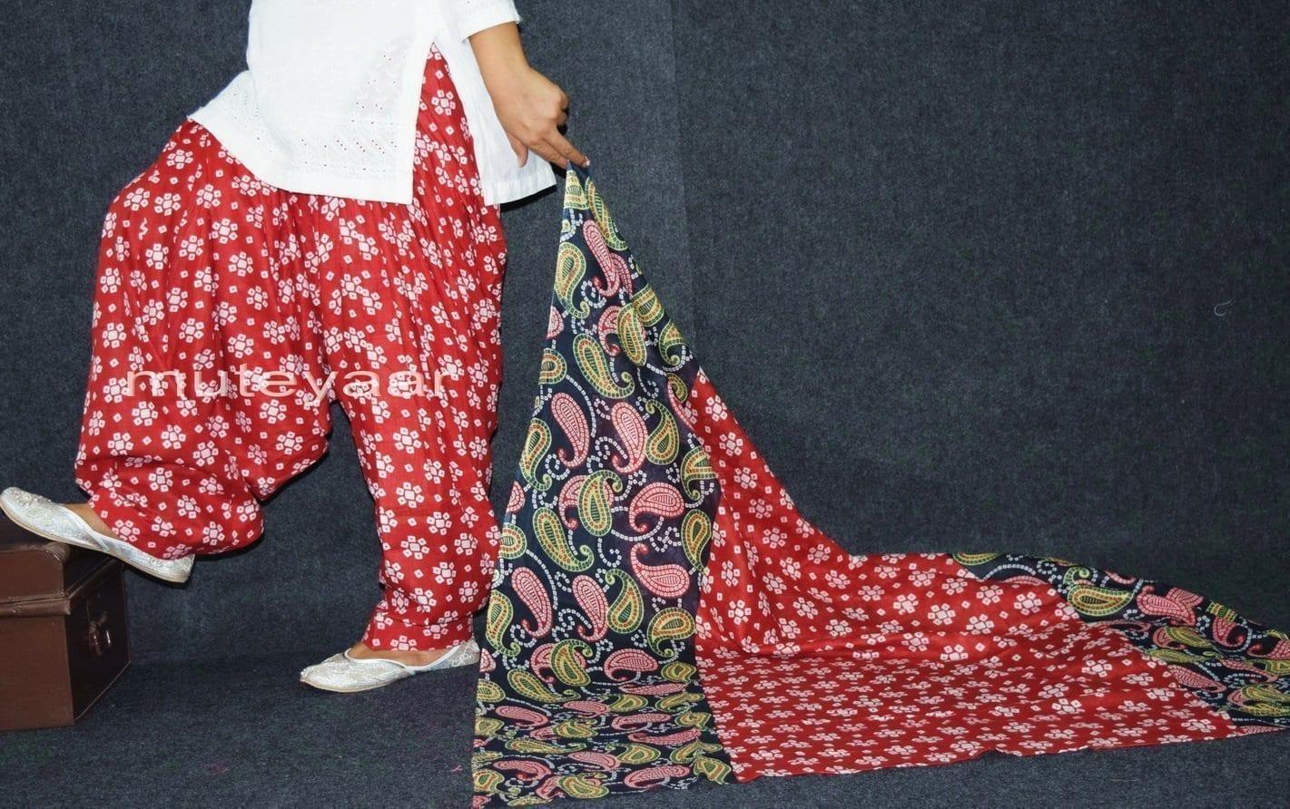 100% Pure Cotton FULL Patiala Salwar + matching cotton printed dupatta PSD164 1