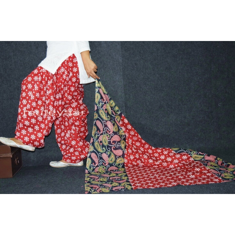 100% Pure Cotton FULL Patiala Salwar + matching cotton printed dupatta PSD164