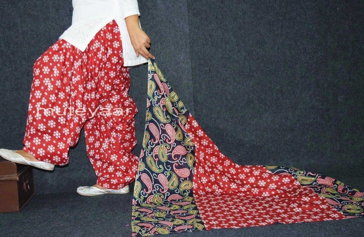 100% Pure Cotton FULL Patiala Salwar + matching cotton printed dupatta PSD164 2