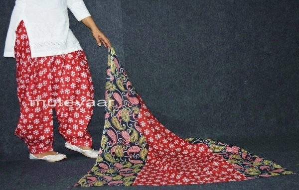 100% Pure Cotton FULL Patiala Salwar + matching cotton printed dupatta PSD164
