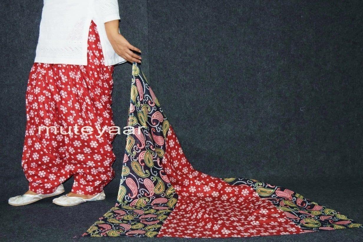 100% Pure Cotton FULL Patiala Salwar + matching cotton printed dupatta PSD164 4