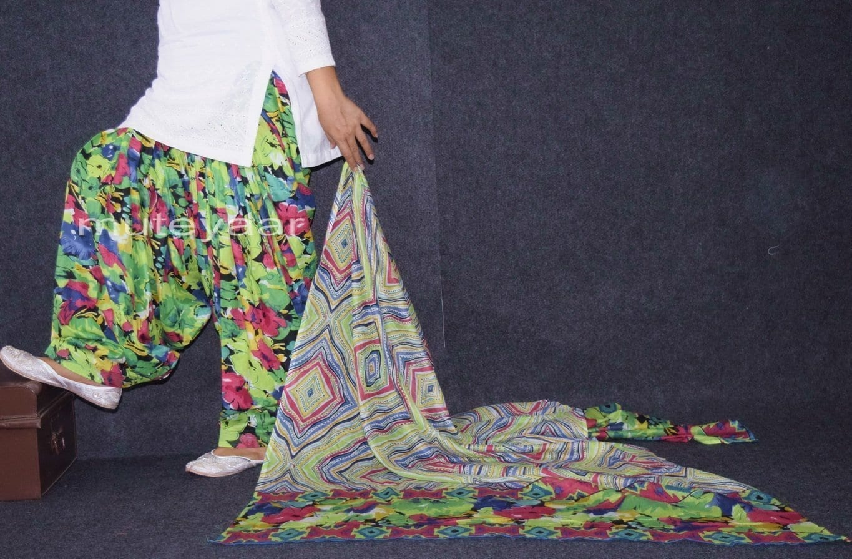 100% Pure Cotton FULL Patiala Salwar + matching cotton printed dupatta PSD167 1