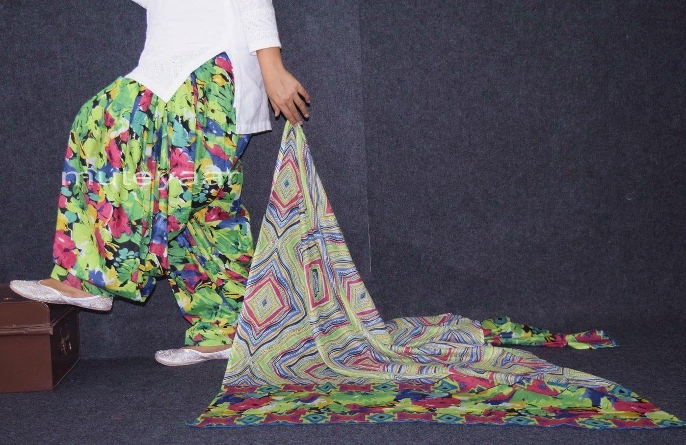 100% Pure Cotton FULL Patiala Salwar + matching cotton printed dupatta PSD167 2