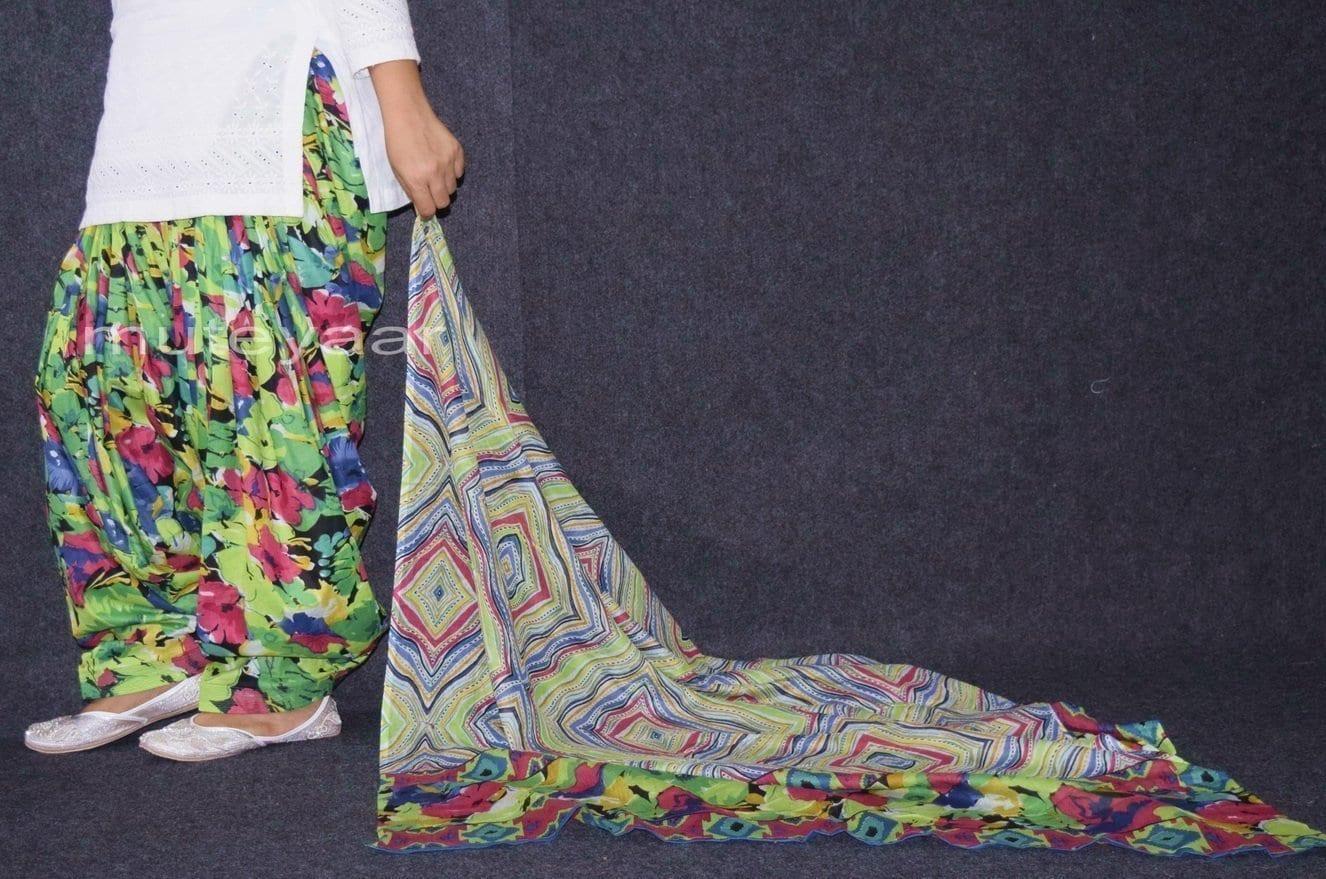 100% Pure Cotton FULL Patiala Salwar + matching cotton printed dupatta PSD167 3
