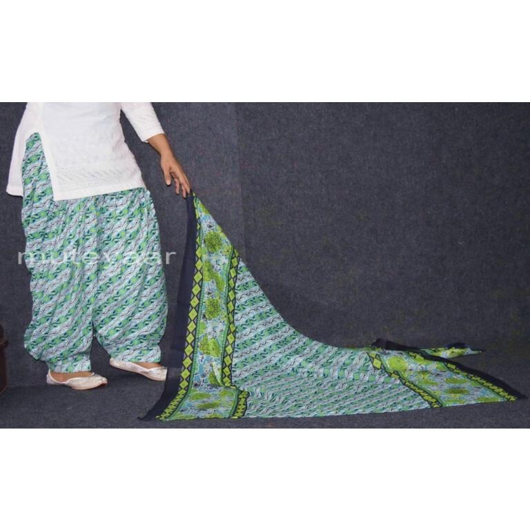 100% Pure Cotton FULL Patiala Salwar + matching cotton printed dupatta PSD169