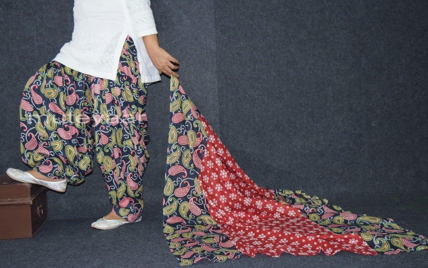 100% Pure Cotton FULL Patiala Salwar + matching cotton printed dupatta PSD170 1