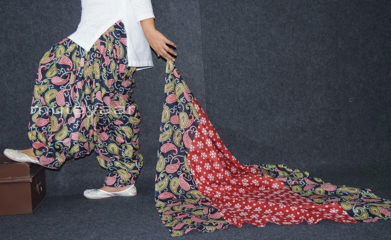 100% Pure Cotton FULL Patiala Salwar + matching cotton printed dupatta PSD170 2