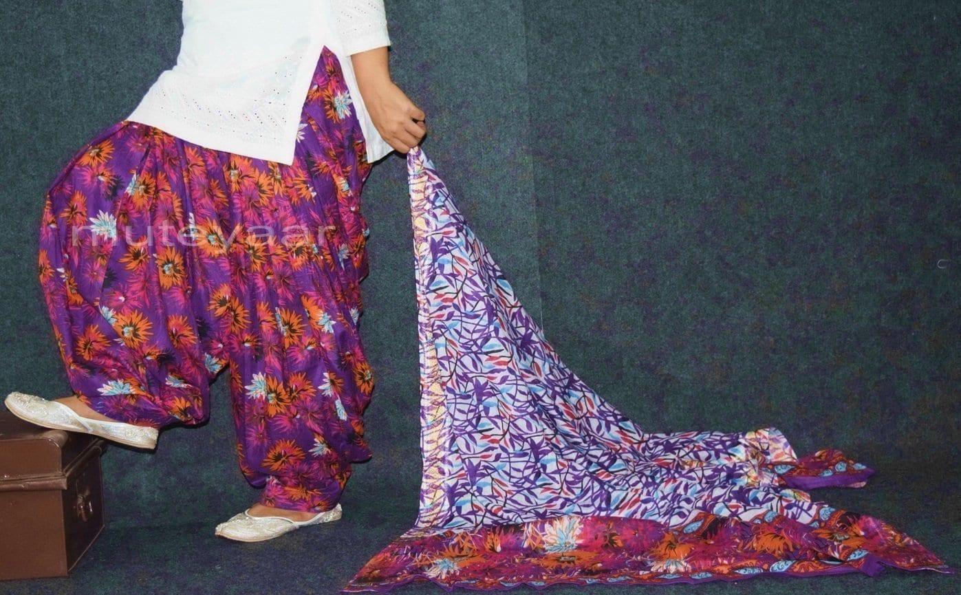 100% Pure Cotton FULL Patiala Salwar + matching cotton printed dupatta PSD171 1