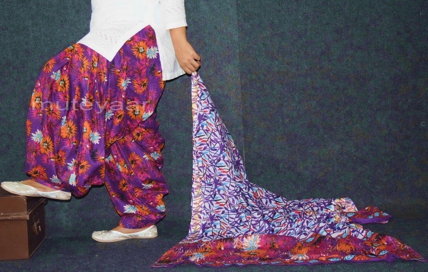 100% Pure Cotton FULL Patiala Salwar + matching cotton printed dupatta PSD171 2