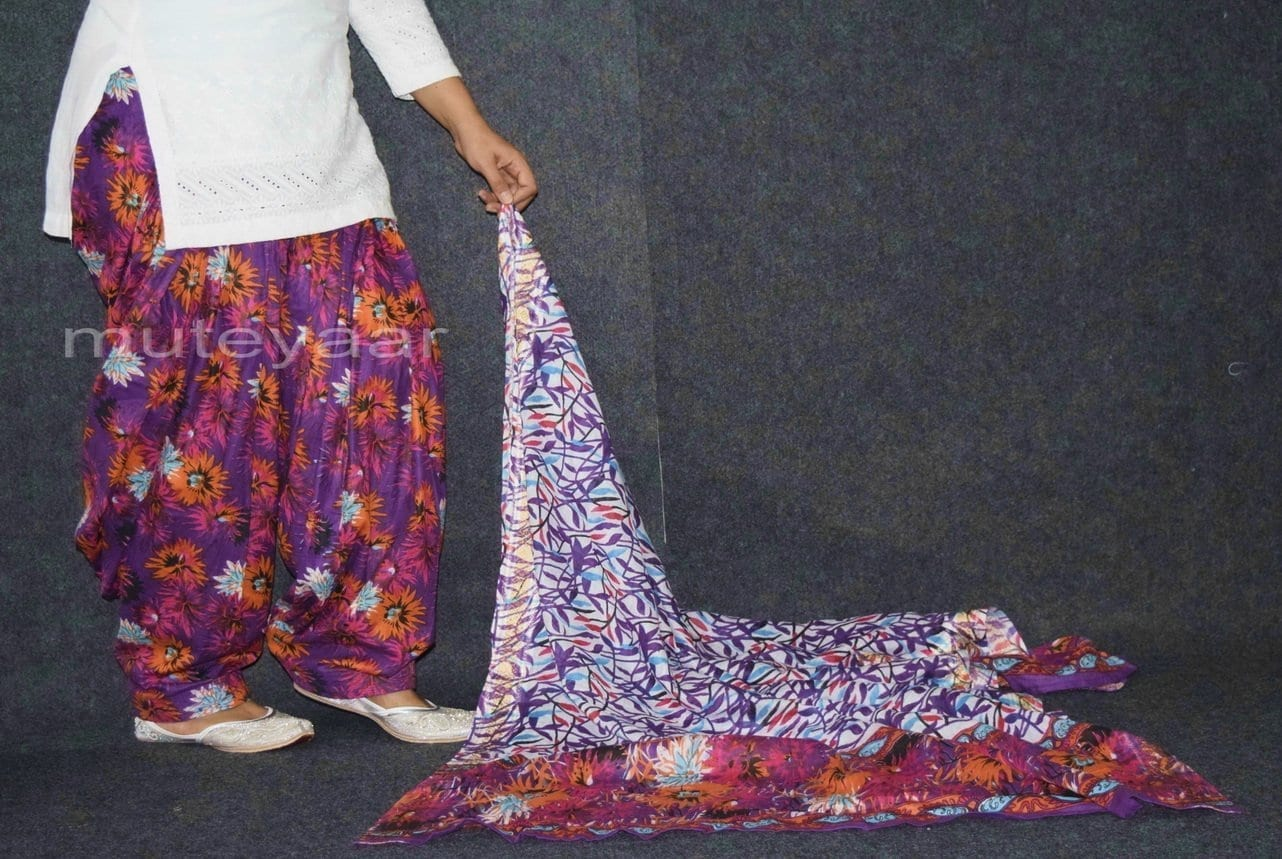 100% Pure Cotton FULL Patiala Salwar + matching cotton printed dupatta PSD171 3