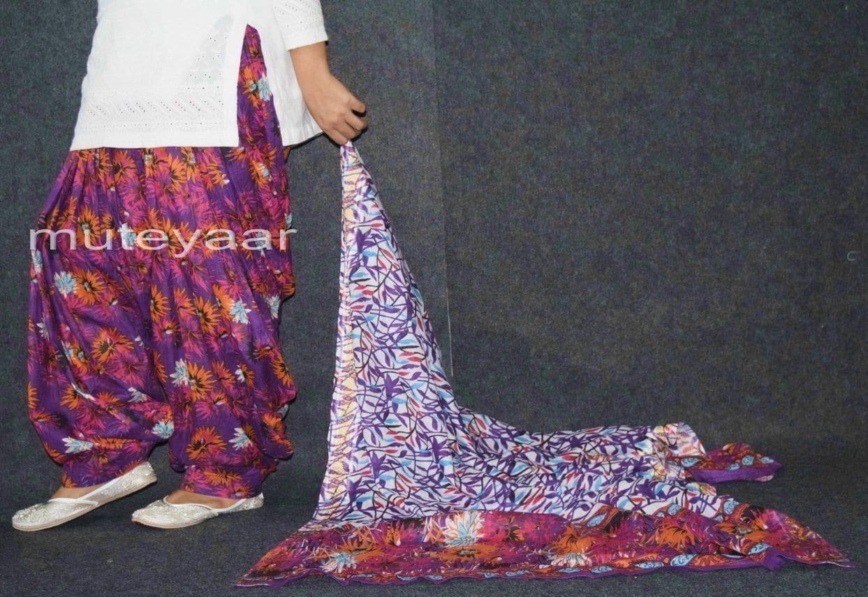100% Pure Cotton FULL Patiala Salwar + matching cotton printed dupatta PSD171 4