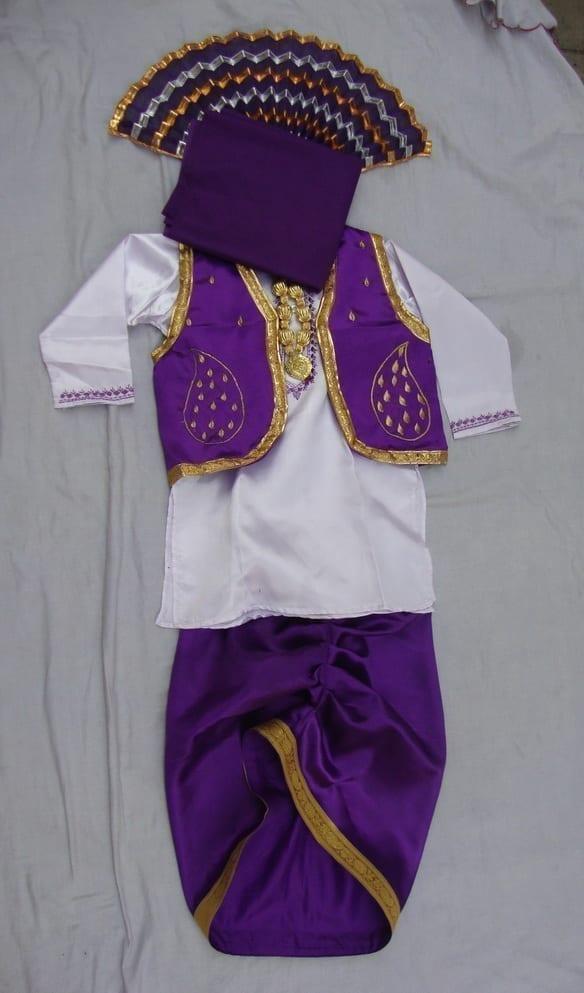 Purple White Bhangra dance Costume / outfit dress 1