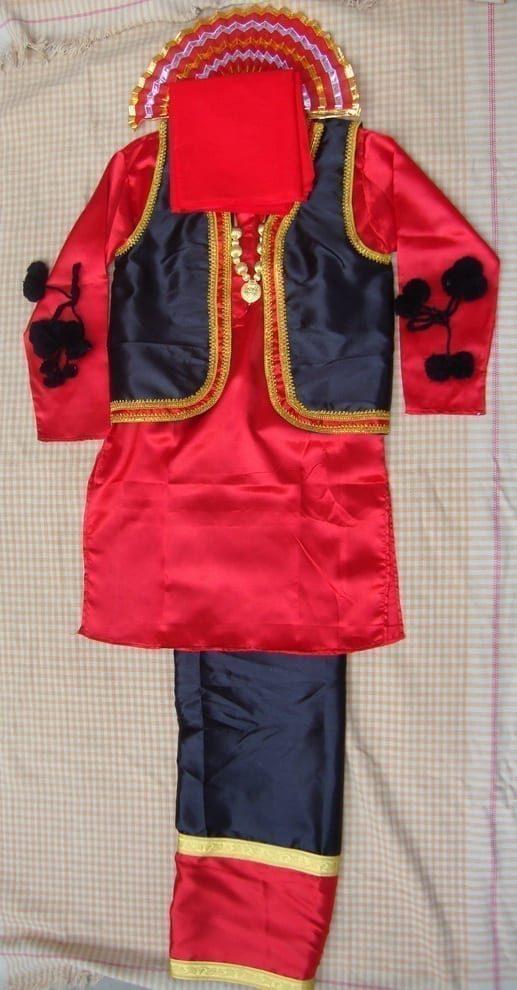 RED/BLACK Bhangra dance Costume / outfit dress- ready to wear 1