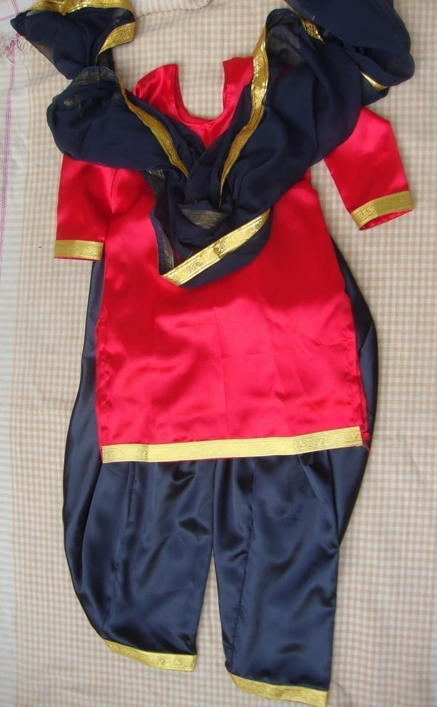 RED/BLACK custom made Girl's Bhangra Costume outfit dance dress 1