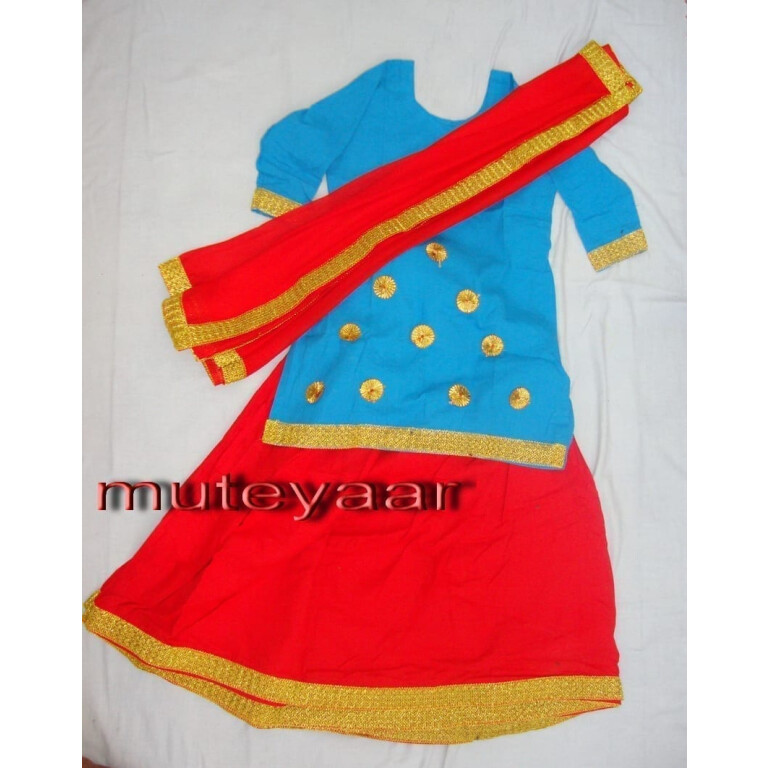 Red Firozi custom made GIDDHA  Costume outfit Ghagra dress