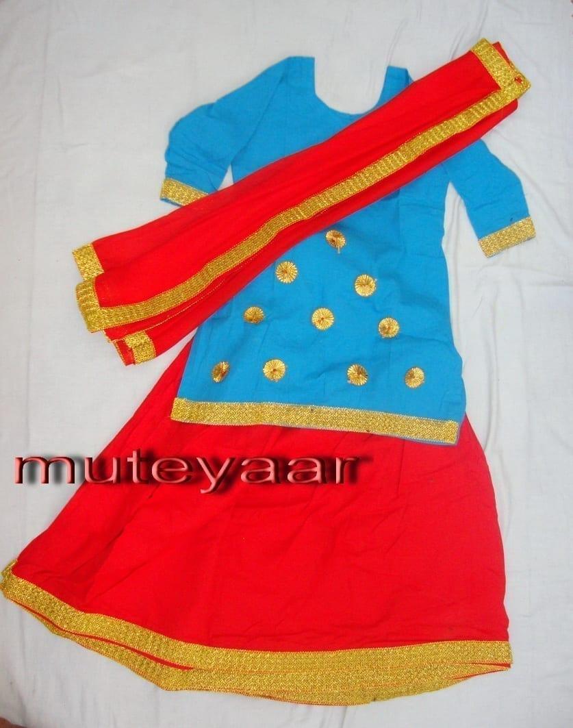 Red Firozi custom made GIDDHA  Costume outfit Ghagra dress 1