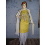 Yellow White Embroidered Patiala Salwar Kameez Suit chunni RM025