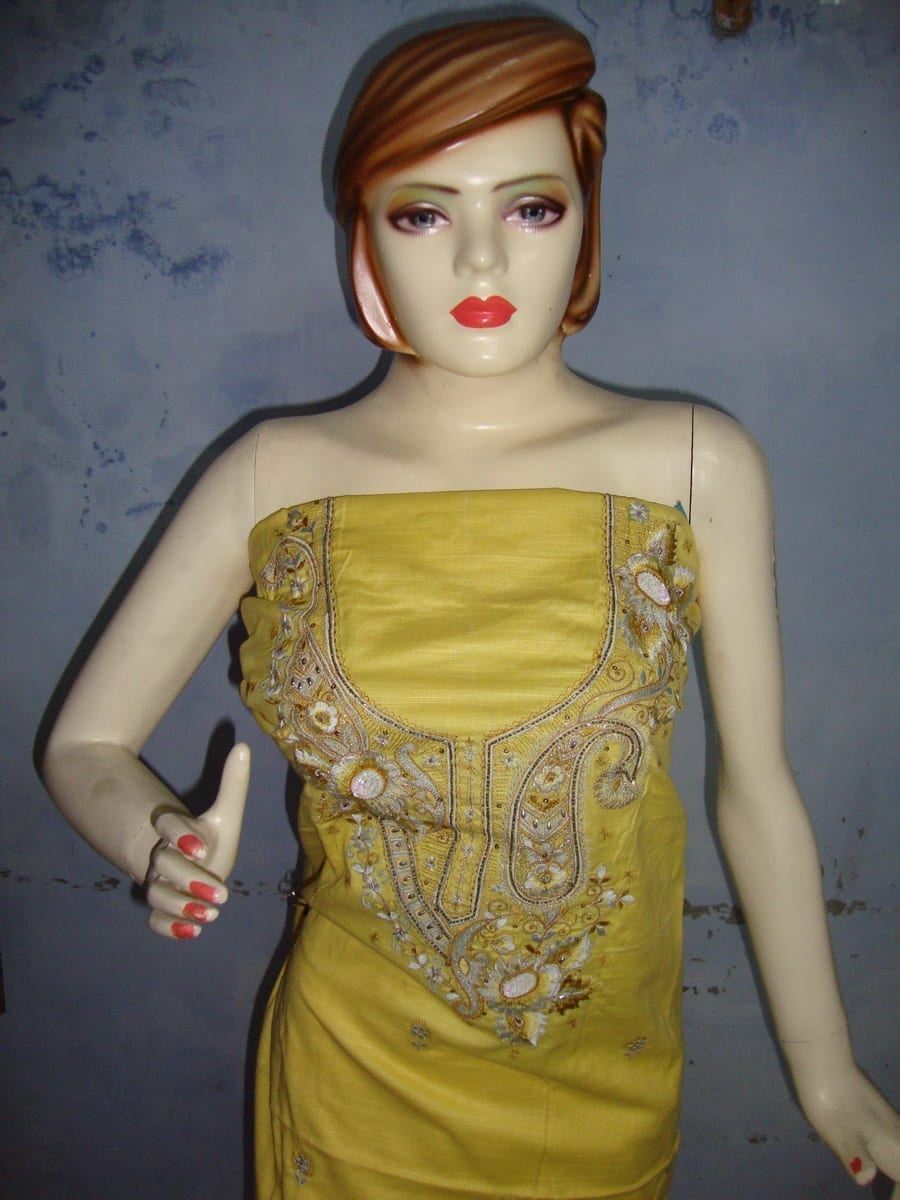 Yellow White Embroidered Patiala Salwar Kameez Suit chunni RM025 2