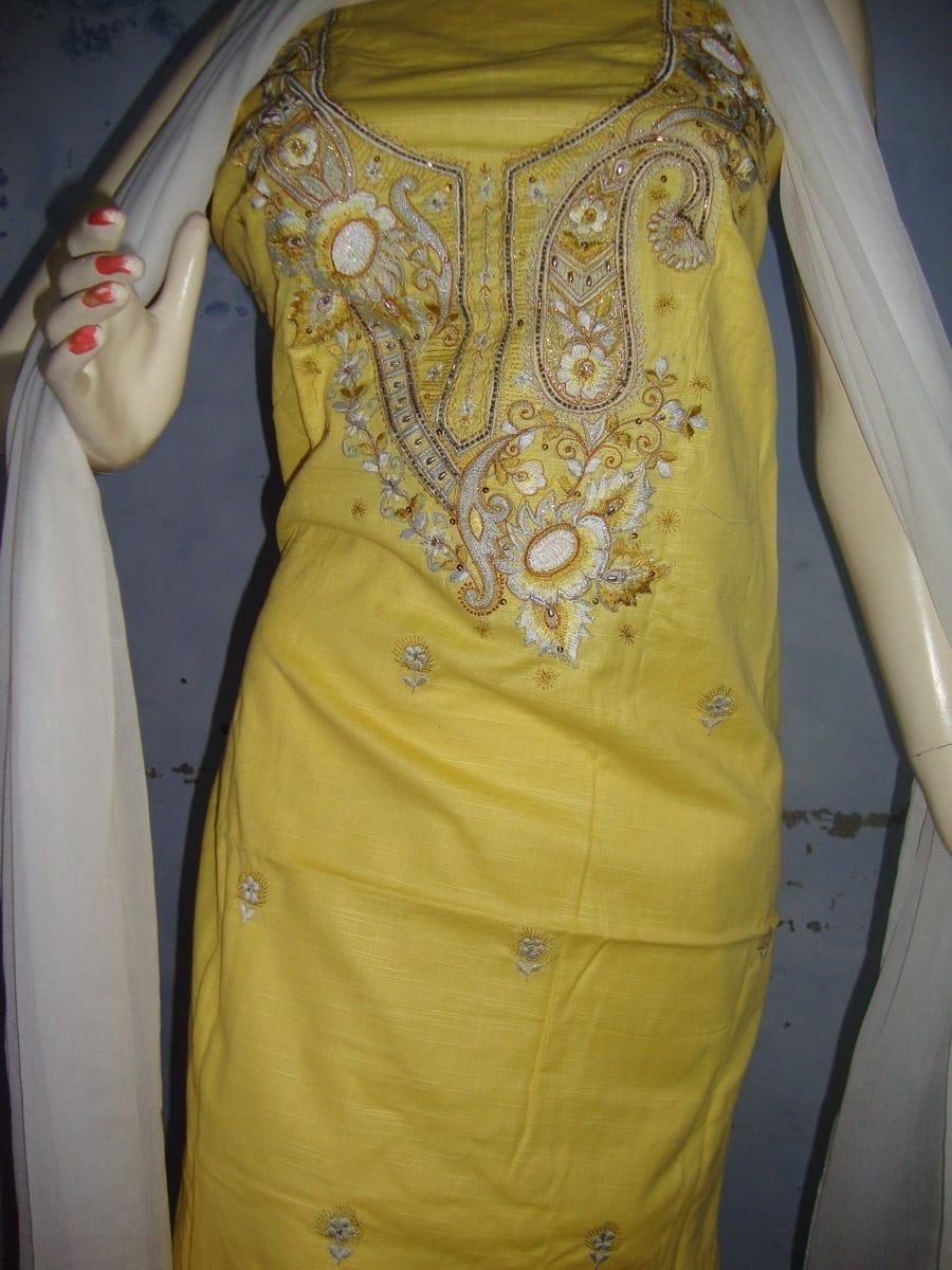 Yellow White Embroidered Patiala Salwar Kameez Suit chunni RM025 3