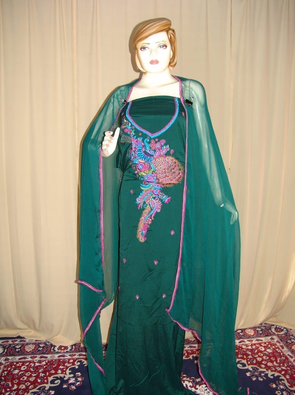 DARK GREEN PEACOCK DESIGN Embrd Patiala Salwar Suit RM066 1