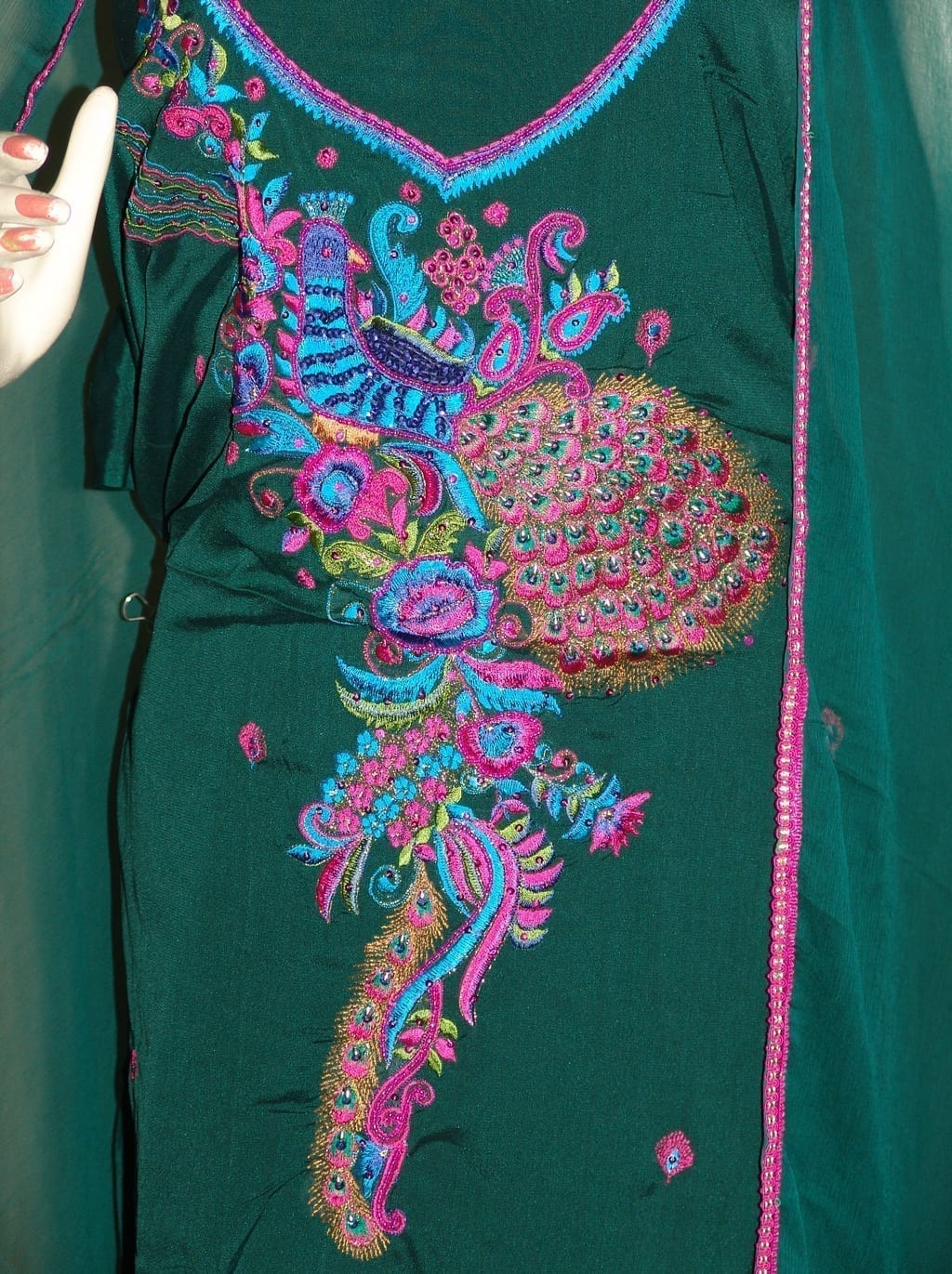DARK GREEN PEACOCK DESIGN Embrd Patiala Salwar Suit RM066 2