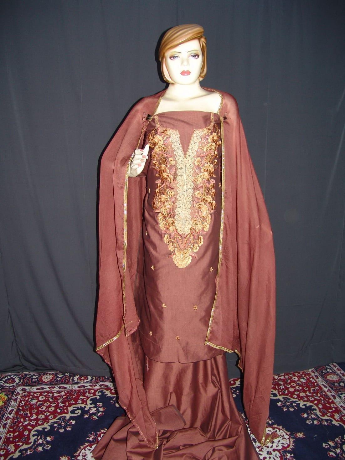 Cotton Silk Embr Salwar Suit PURE CHINON  Dupatta RM115 1