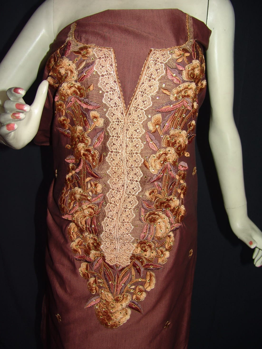 Cotton Silk Embr Salwar Suit PURE CHINON  Dupatta RM115 2