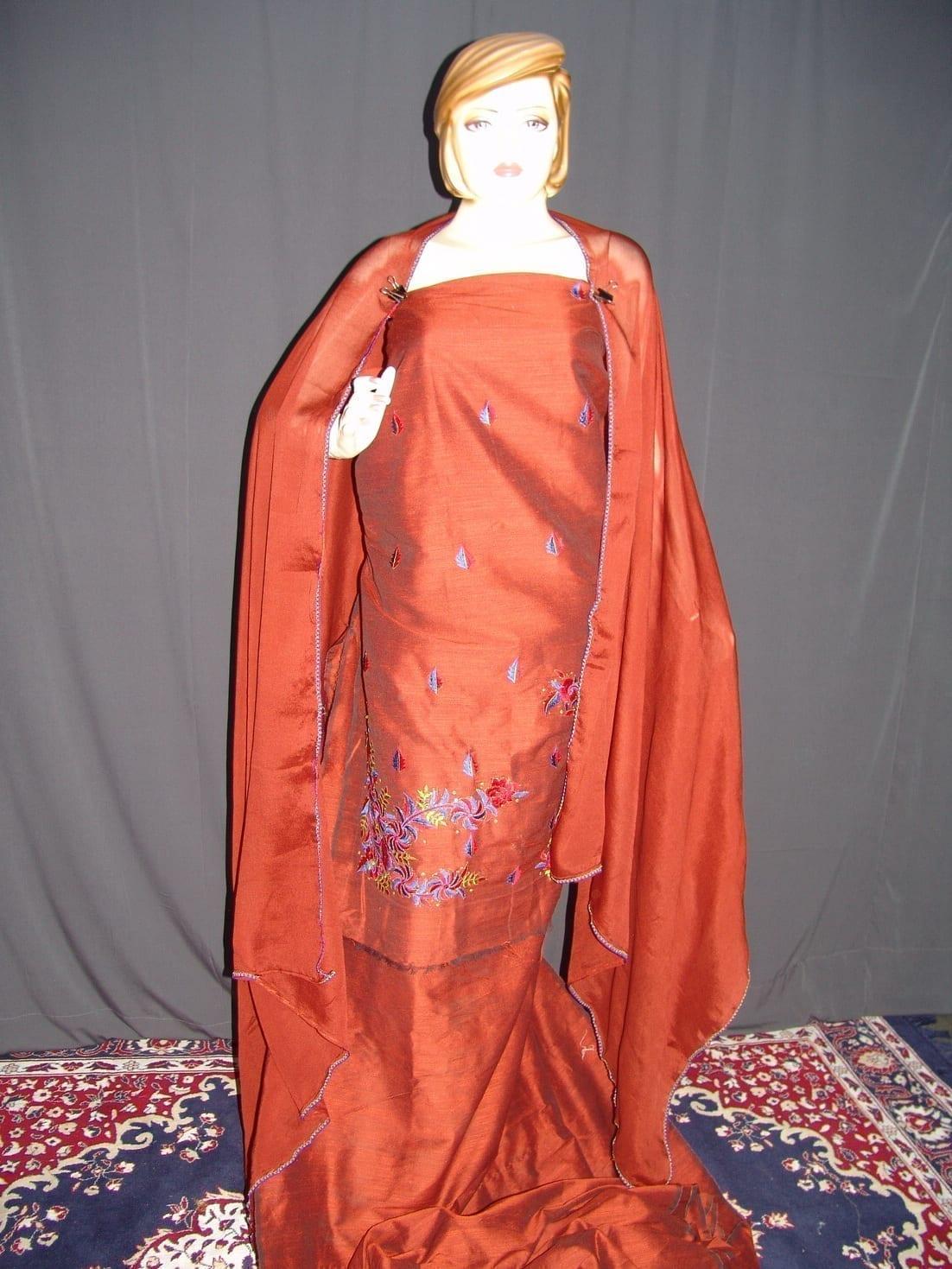 Cotton Silk Embr Salwar Suit PURE CHINON  Dupatta RM120 1