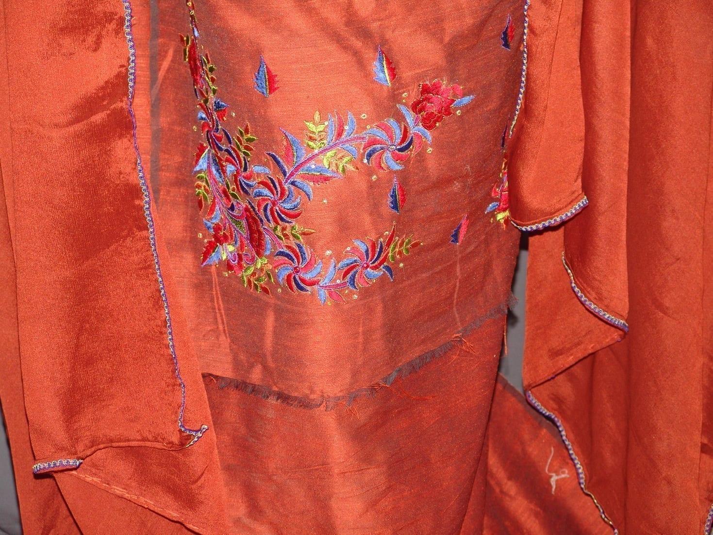 Cotton Silk Embr Salwar Suit PURE CHINON  Dupatta RM120 2