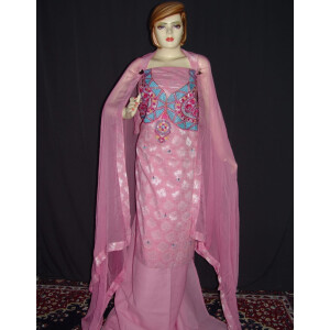 Self Print Cotton Embroidered Salwar Kameez Dupatta Suit RM128