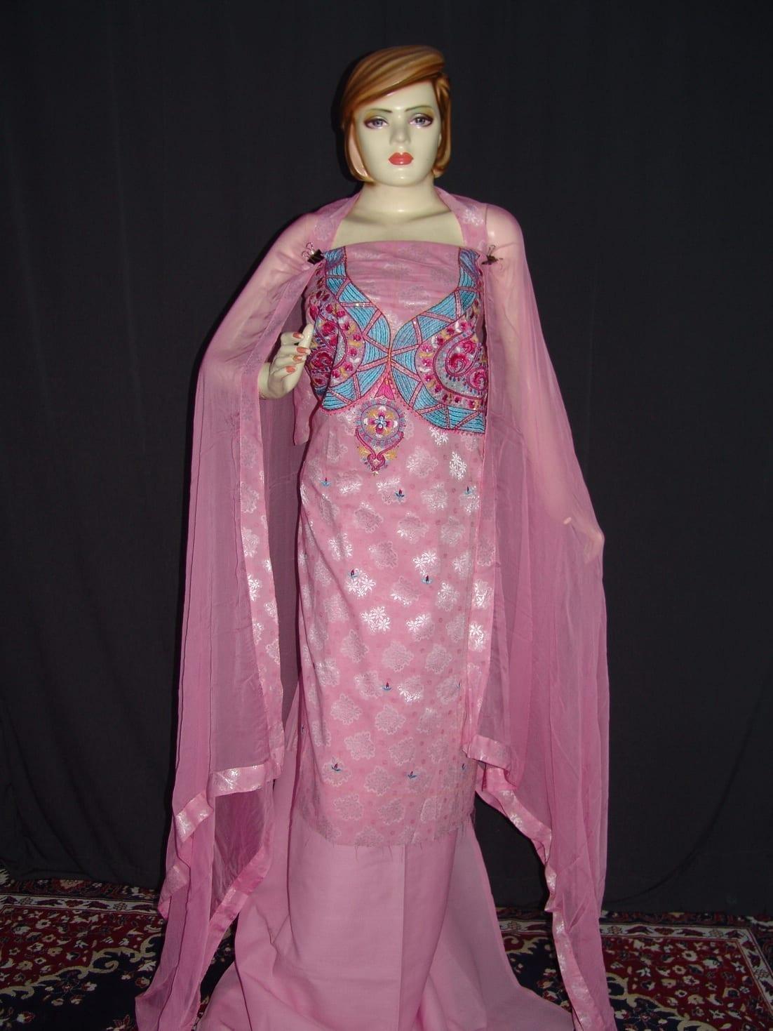 Self Print Cotton Embroidered Salwar Kameez Dupatta Suit RM128 1