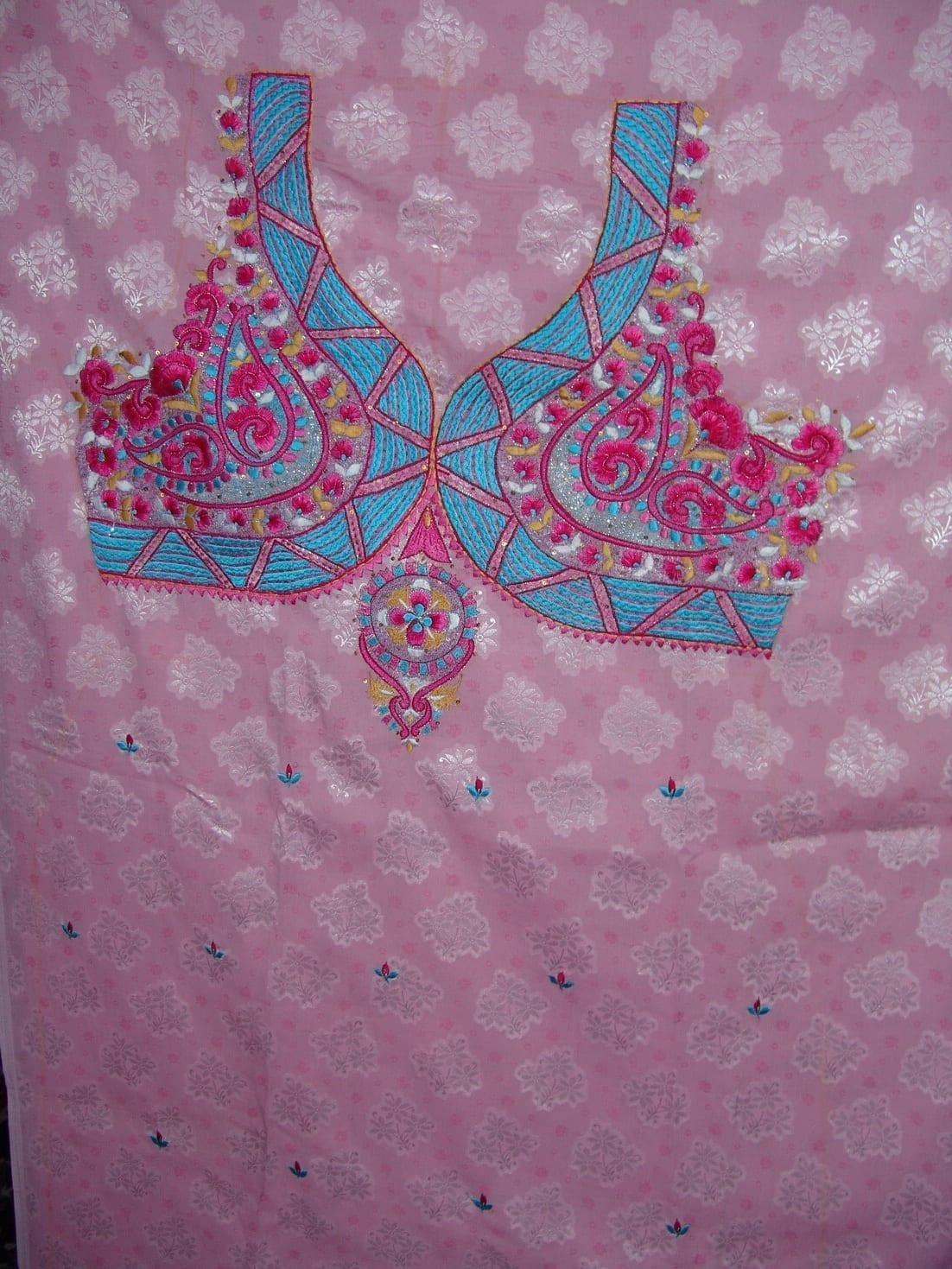Self Print Cotton Embroidered Salwar Kameez Dupatta Suit RM128 2
