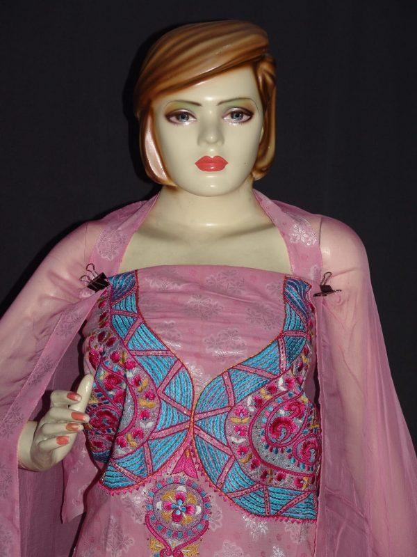 Self Print Cotton Embroidered Salwar Kameez Dupatta Suit RM128