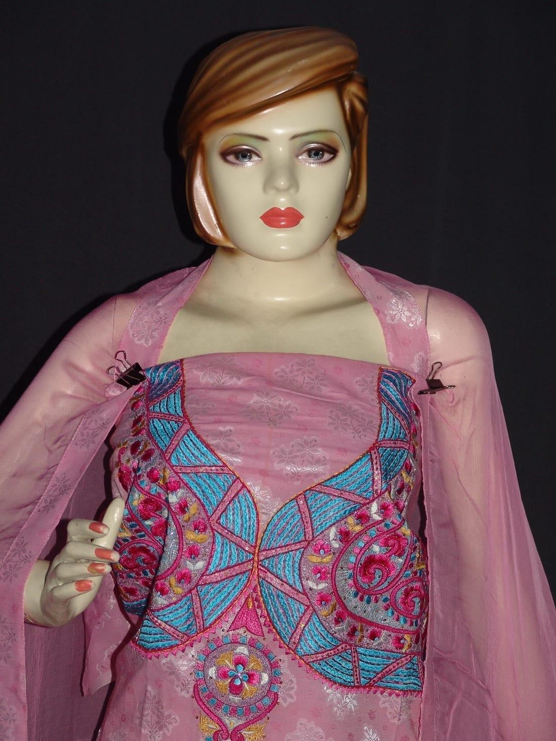 Self Print Cotton Embroidered Salwar Kameez Dupatta Suit RM128 3